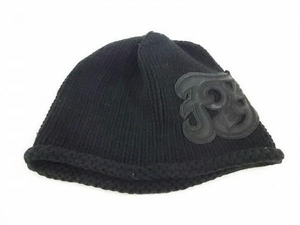 フォクシー ニット帽 F新品同様  - 黒 フェイクレザーロゴ コットン 1