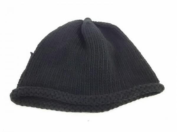 フォクシー ニット帽 F新品同様  - 黒 フェイクレザーロゴ コットン 2