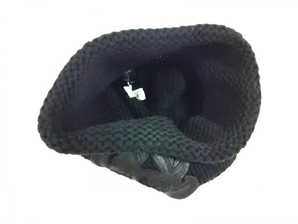 フォクシー ニット帽 F新品同様  - 黒 フェイクレザーロゴ コットン 3