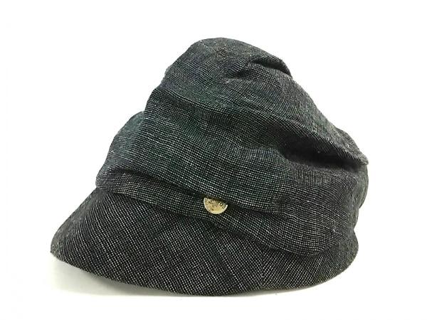 CA4LA(カシラ) 帽子美品  黒×ライトグレー 麻×ナイロン 2