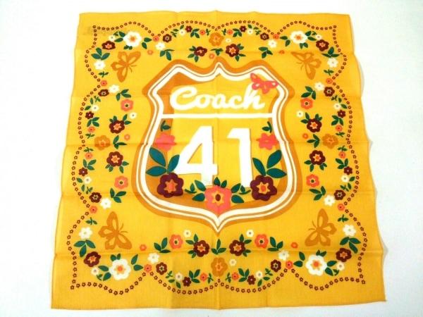 COACH(コーチ) ハンカチ美品  イエロー×マルチ 花柄 1