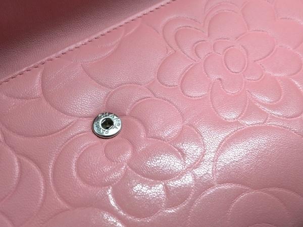 CHANEL(シャネル) 長財布 カメリア ピンク ラムスキン 6