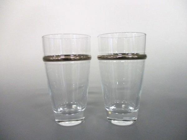 mikimoto(ミキモト) ペアグラス新品同様  クリア×シルバー ガラス 1