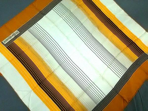 イヴサンローラン スカーフ アイボリー×オレンジ×ダークブラウン 1