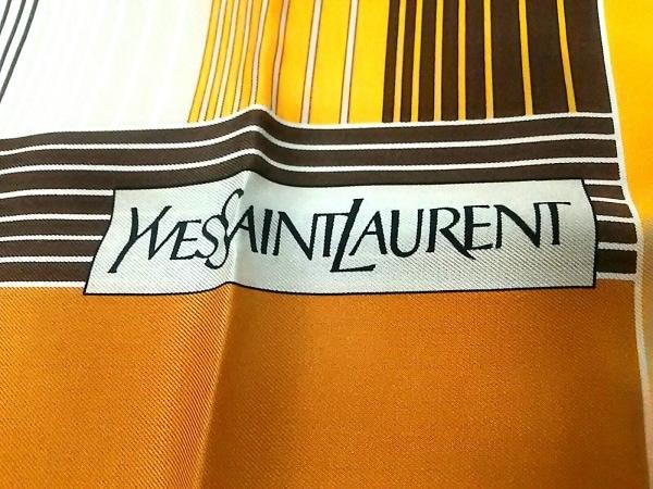 イヴサンローラン スカーフ アイボリー×オレンジ×ダークブラウン 2