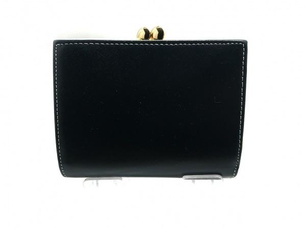 KITAMURA(キタムラ) 3つ折り財布 - 黒×白 がま口 レザー 2
