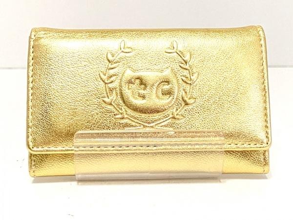 ツモリチサトキャリー 名刺入れ美品  ゴールド 型押し加工 レザー 1
