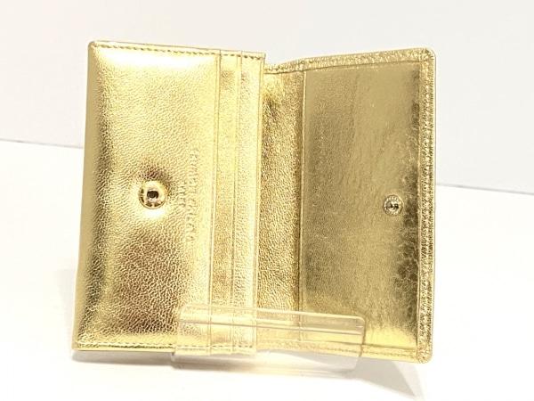 ツモリチサトキャリー 名刺入れ美品  ゴールド 型押し加工 レザー 3