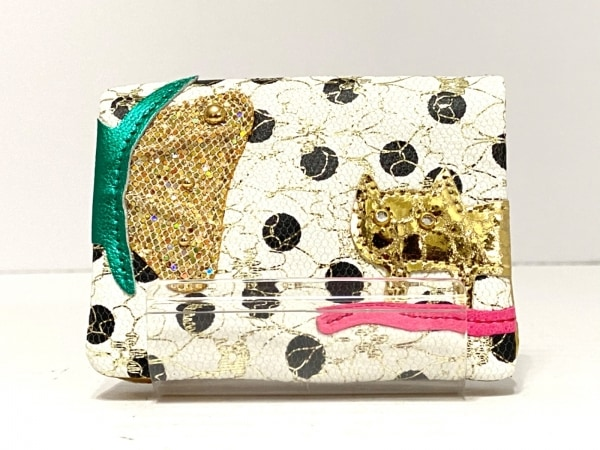 ツモリチサトキャリー カードケース美品  白×ゴールド×マルチ 1
