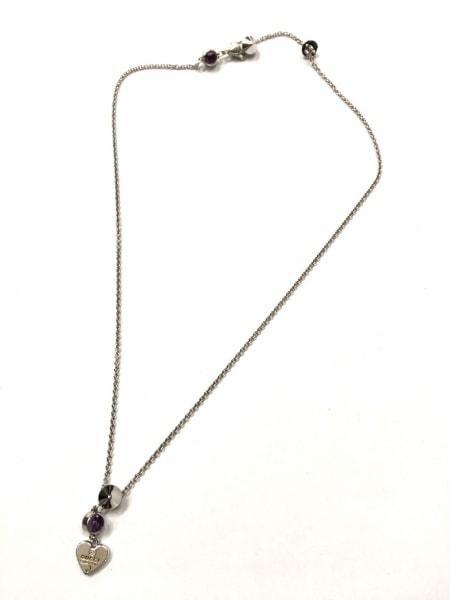 グッチ ネックレス美品  - シルバー×ラインストーン パープル 2