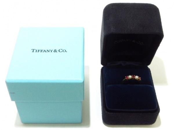 TIFFANY&Co.(ティファニー) リング美品  - K18YG×ルビー×パール 7