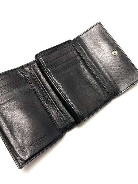 ボッテガヴェネタ 3つ折り財布 イントレチャート 131238 黒 がま口 3