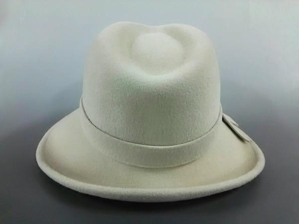 maxim(マキシン) ハット美品  ライトグレー リボン 天然繊維 3
