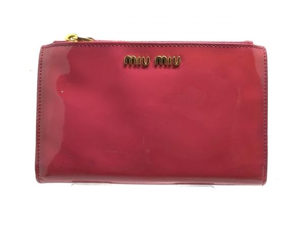 ミュウミュウ 3つ折り財布 - ピンク リボン エナメル(レザー) 1