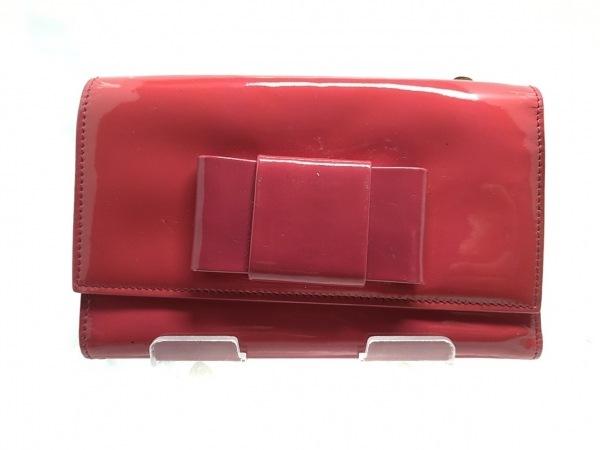 ミュウミュウ 3つ折り財布 - ピンク リボン エナメル(レザー) 2