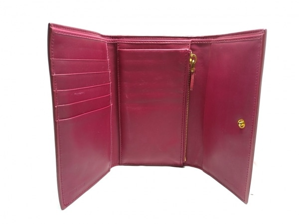 ミュウミュウ 3つ折り財布 - ピンク リボン エナメル(レザー) 3