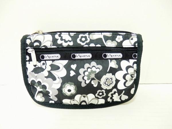 レスポートサック ポーチ美品  黒×白×マルチ 花柄 レスポナイロン 1