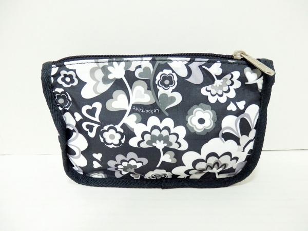 レスポートサック ポーチ美品  黒×白×マルチ 花柄 レスポナイロン 2