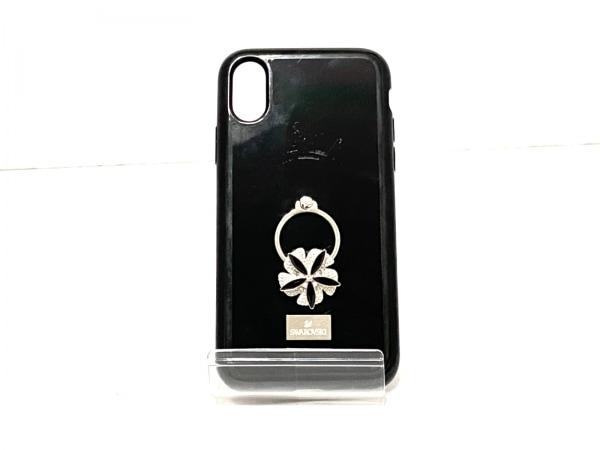 スワロフスキー 携帯電話ケース 黒×シルバー×クリア iPhoneXケース 1