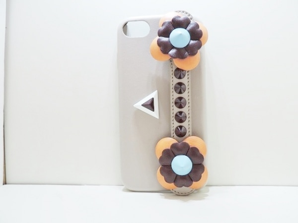 フェンディ 携帯電話ケース - ベージュ×オレンジ×マルチ レザー 1
