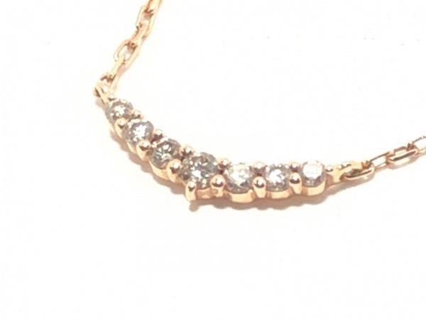 agete(アガット) ネックレス美品  K10PG×ダイヤモンド 0.05カラット 1