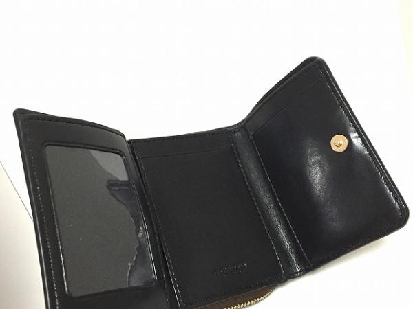 COACH(コーチ) 3つ折り財布 シグネチャー柄 ダークブラウン×黒 3