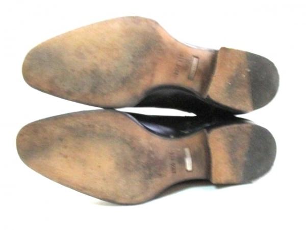 グッチ ショートブーツ メンズ 黒 サイドゴア レザー×化学繊維 4