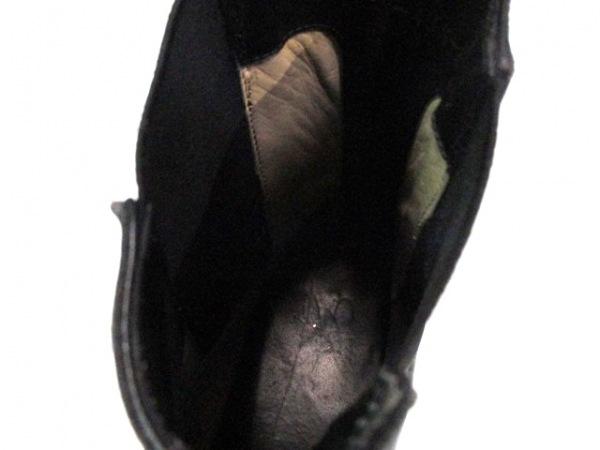 グッチ ショートブーツ メンズ 黒 サイドゴア レザー×化学繊維 9