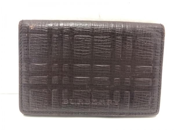 バーバリー カードケース ダークブラウン 型押し加工/チェック柄 1