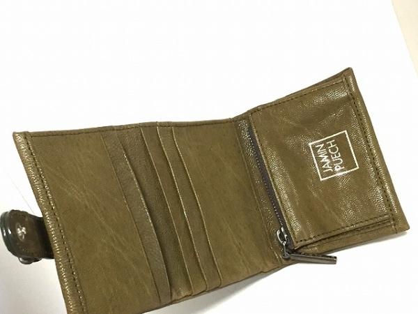 JAMIN PUECH(ジャマンピエッシェ) 3つ折り財布 カーキ レザー 3