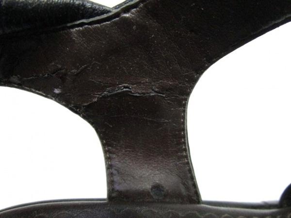 インゲボルグ サンダル LL レディース 黒×ダークブラウン レザー 7