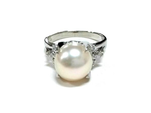 ノーブランド リング美品  Pt900×ダイヤモンド×パール アイボリー 1