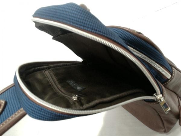 メンズメルローズ ワンショルダーバッグ ブルー×黒×ダークブラウン 7