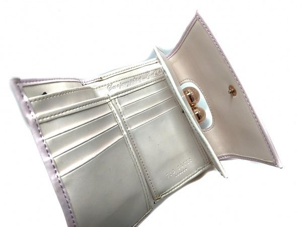 テッドベイカー 3つ折り財布美品  ピンク がま口 レザー×金属素材 3