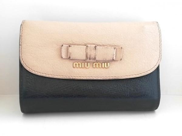 ミュウミュウ 3つ折り財布 - 5M1225 ベージュ×黒 リボン レザー 1