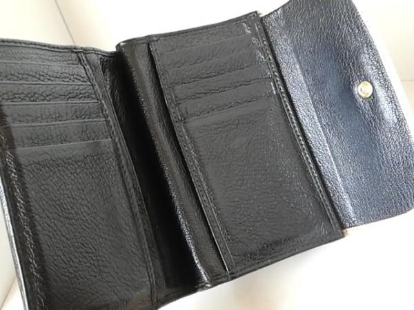 ミュウミュウ 3つ折り財布 - 5M1225 ベージュ×黒 リボン レザー 3