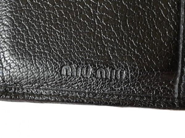 ミュウミュウ 3つ折り財布 - 5M1225 ベージュ×黒 リボン レザー 5