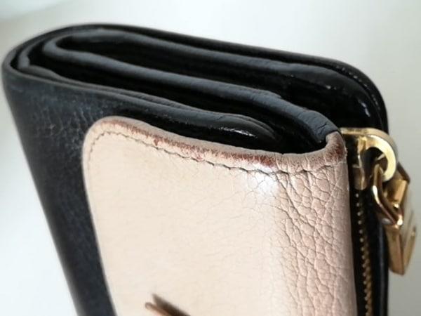 ミュウミュウ 3つ折り財布 - 5M1225 ベージュ×黒 リボン レザー 7