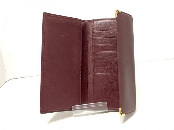カルティエ 長財布 マストライン ボルドー×ゴールド がま口 レザー 3