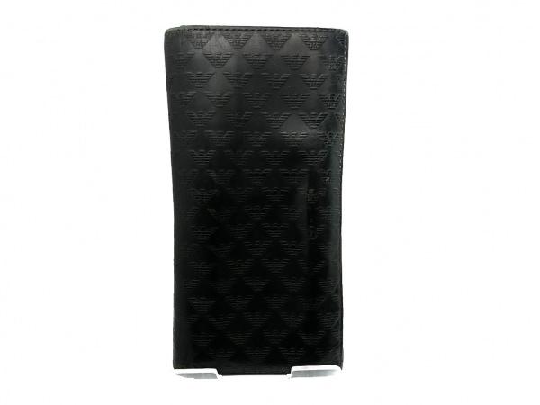 エンポリオアルマーニ 長財布 - 黒 型押し加工 レザー 1