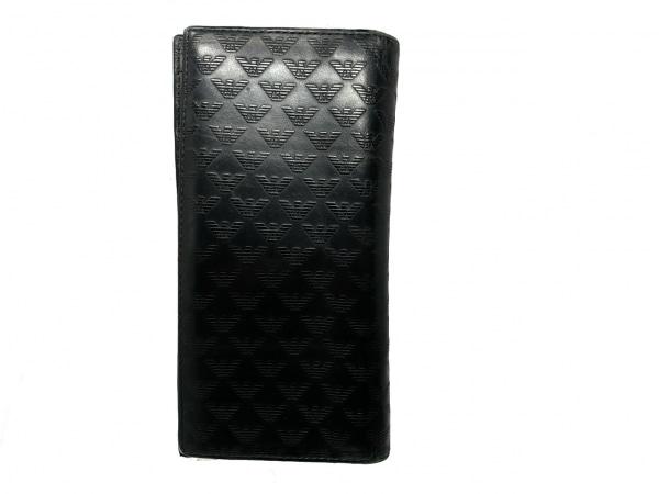 エンポリオアルマーニ 長財布 - 黒 型押し加工 レザー 2