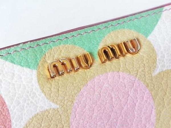ミュウミュウ 長財布 - アイボリー×ライトピンク×マルチ レザー 6