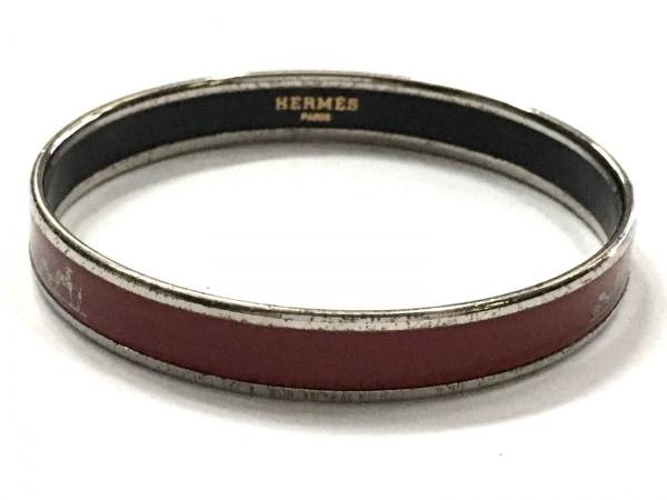 HERMES(エルメス) バングル カレーシュ 金属素材 ボルドー×シルバー 3