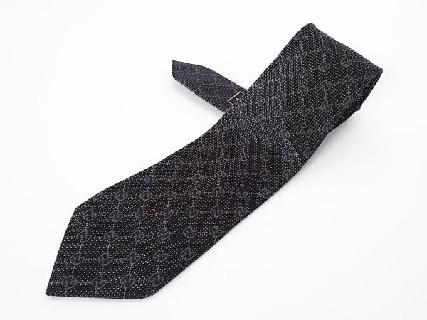 GUCCI(グッチ) ネクタイ メンズ - 黒×ダークグレー×白 GG柄 1