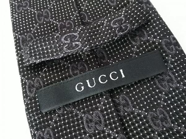 GUCCI(グッチ) ネクタイ メンズ - 黒×ダークグレー×白 GG柄 3