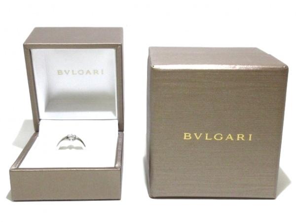 ブルガリ リング新品同様  Pt950×ダイヤモンド 1Pダイヤ/約0.20ct 7