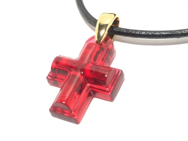 ラリック チョーカー ガラス×レザー レッド×黒×ゴールド クロス 1