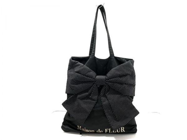 メゾンドフルール トートバッグ 黒×白 リボン/ドット柄 化学繊維 1