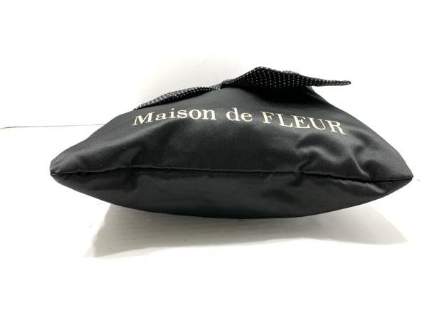 メゾンドフルール トートバッグ 黒×白 リボン/ドット柄 化学繊維 4