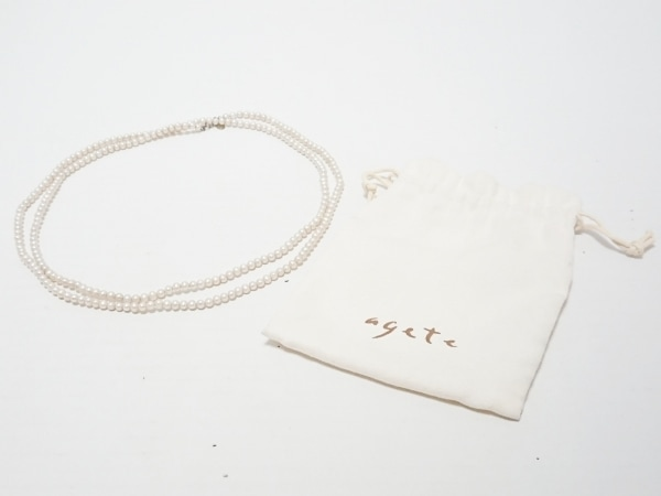 agete(アガット) ネックレス シルバー×フェイクパール アイボリー 5